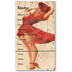 Vintage Lady in Red Dress Digital Art Business Card Templates by Angel and Spot