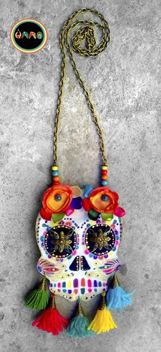 Textile Jewelry, Boho Jewelry, Jewelry Art, Jewelry Gifts, Fashion Jewelry, Felt Skull, Sugar Skull Jewelry, Day Of The Dead Skull, Mexican Outfit