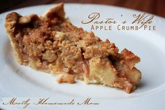 Pastor's Wife Apple Crumb Pie - the BEST apple pie recipe EVER! www.mostlyhomemademom.com