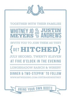 Hoedown invitation wording (bring your own boots! cute!) (PF)