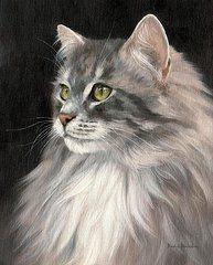Cat Art Paintings - Cat Portrait Painting  by Rachel Stribbling
