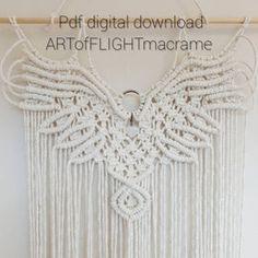 Angel Wings Pattern/Tutorial   Etsy Free Macrame Patterns, Owl Patterns, Canvas Patterns, Quilt Patterns, Clutch Bag Pattern, Macrame Owl, Macrame Knots, Macrame Projects, Macrame Supplies