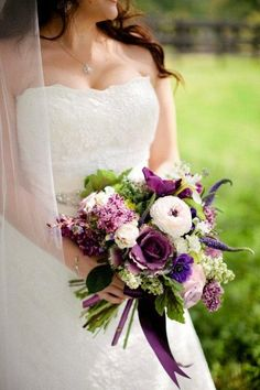 Green Purple White Bouquet Calla Lily Destination Ranunculus Spring Wedding Flowers Photos & Pictures - WeddingWire.com