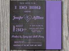 Chalkboard Heart I do BBQ Bridal Shower Invitation, Downloadable Wedding Shower Microsoft Word Template | Country Pastel Purple | ANY color by PaintTheDayDesigns, $7.75