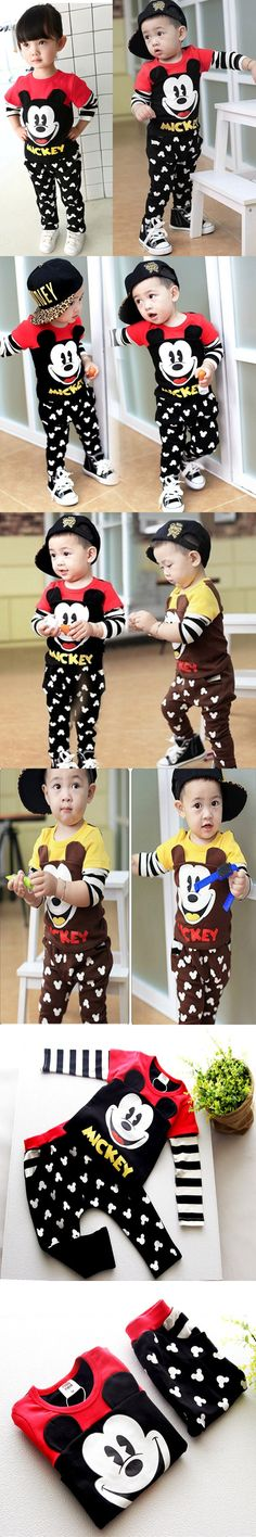 2016 Spring Cute Mouse Toddler Boys Girls Clothing Set Cartoon Kids Print Shirt+Pants Outfits 2PCS Kids Baby Brand Clothes Set $19.99