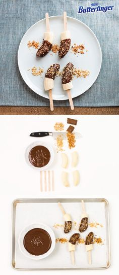 For a quick and easy dessert to make as a weeknight treat, make this no-bake recipe for Frozen Butterfinger Bananas. Simply put half of a banana on a stick and dip it in melted chocolate. Sprinkle them with crushed pieces of BUTTERFINGER® candy bars for a crispety, crunchety, peanut-buttery taste.