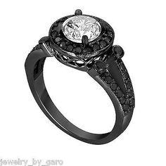 1.53 CARAT DIAMOND ENGAGEMENT RING VINTAGE STYLE 14K BLACK GOLD HALO UNIQUE