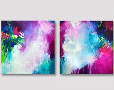 Par de original pintura abstracta, 2 piezas acrílico obra de arte única, fucsia turquesa de colorido arte en lienzo, colores atrevidos