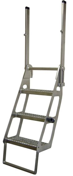 The standard Trucker Ladder configuration provides a diagonal stairway alignment, Wide Grip Strut slip-resistant steps, and two hand posts that extend above the deck to provide 3 points of contact. http://store.iascustom.com/
