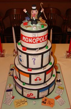 Monopoly cake -  maybe for Tate's seventh birthday? Probably not with a brand new baby.