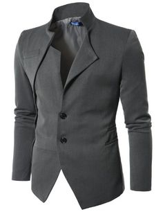 Doublju Mens Unbalanced Blazer Jacket