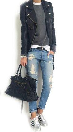 Lässiger gehts nicht - coole Sommernacht oder lauer Herbststyle - Blue Jeans mit Sneakers und Lederjacke *** Rock 'n' Roll Tomboy style