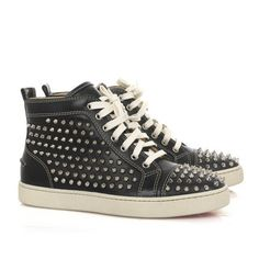 Christian Louboutin Louis Studded High-Top Sneakers Black