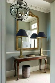 Grey hallway ideas apartment to home foyer design, wainscoti Decor, Foyer Design, Hallway Console, Interior, Hallway Mirror, Victorian Hallway, Hall Decor, Foyer Decorating, Modern Foyer