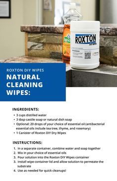 Natural Cleaning Solutions, Natural Cleaning Products, Antibacterial Essential Oils, Wipes Container, Rubbing Alcohol, Green Cleaning, Cleaning Wipes, Recipes, Glass Mirrors