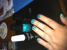 Zebra nails using a base of China Glaze turned up turquoise, stripes useing a thin brush from Art Club in black hologram and CND VINYLUX weekly top coat. It stays on for a whole 7 days without chipping!
