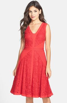 Free shipping and returns on Tadashi Shoji Lace & Jersey Fit & Flare Dress (Regular & Petite) at Nordstrom.com. Pintuck-pleated jersey crisscrosses the waist of a lovely flared dress cut with a double V-neckline, sleeveless armholes and a knee-grazing hemline.
