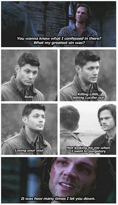 Dean will give his soul for his brother( which he did) and Sam has never given up anything for Dean. One way brotherly love.... sad...
