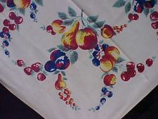 """Vintage Antique Cotton Print Tablecloth 1940s Vibrant Fruits Cherries + 50x66"""""""