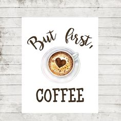 But First Coffee Print Kitchen decor Coffee quotes printable Watercolor Coffee Cup Print White and Brown Calligraphy Coffee Printable Quote