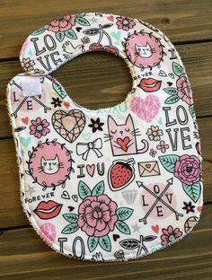 2cdc9e35a44 Baby Bib - Love Doodles Bib - Baby Shower Gift - Cotton Bib - Valentine s  Day Bib