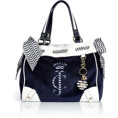 JUICY COUTURE Regal Blue Velour Daydreamer Bag (1.075 BRL) ❤ liked on Polyvore featuring bags, handbags, tote bags, purses, bolsas, accessories, stripe tote, striped tote, blue purse and summer handbags