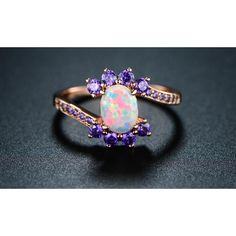 Peermont Fire Opal and Violet Swirl Bridal Ring5 ($14) ❤ liked on Polyvore featuring jewelry, rings, jewelry & watches, fire opal ring, sparkly rings, unisex rings, fire opal jewelry and bridal rings