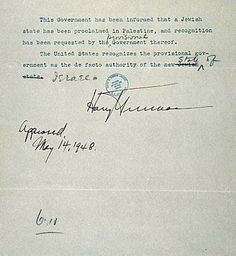 The Recognition Of The State Of Israel - 1948 by President Harry Truman