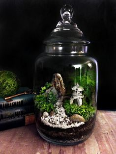 Japanese Garden Terrarium with Miniature Path, Pagoda, Tree in a Large Apothecary Jar