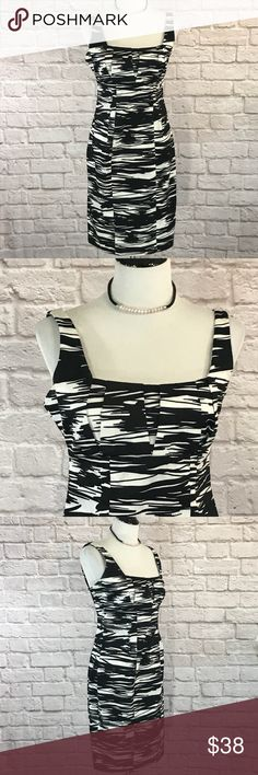 Calvin Klein Black white Print sheath dress size 8 Calvin Klein Black and white printed sheath dress size 8. The print is a modified zebra print. The pleated bodice hits above the waist. The dress has a square neckline. This dress is in excellent condition.  Please see pictures for garment detail and measurements. Thanks for visiting my closet! Calvin Klein Dresses