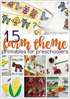 15 Free Farm Theme Printables for Preschoolers