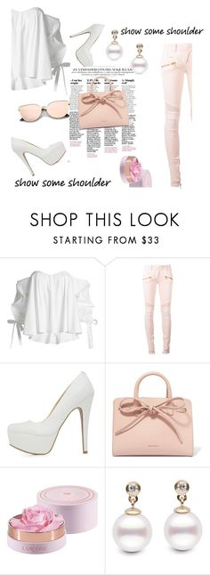 """""""show some shoulder"""" by alexispacheco ❤ liked on Polyvore featuring Caroline Constas, Balmain, Qupid, Mansur Gavriel, Lancôme, Spring, cute, Pink, 2017 and showsomeshoulder"""