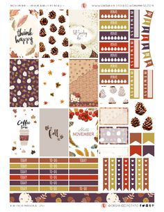 Free Printable November Planner Stickers from #organizedpotato