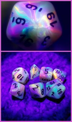 Chessex Festive Circus dice under UV light. Such vibrant psychedelic colors!>>>>>>> these are sooo cool :D Dragon Dies, Dungeons And Dragons Dice, Psychedelic Colors, Pathfinder Rpg, D 20, Dnd Characters, Pen And Paper, Magic The Gathering, Decir No