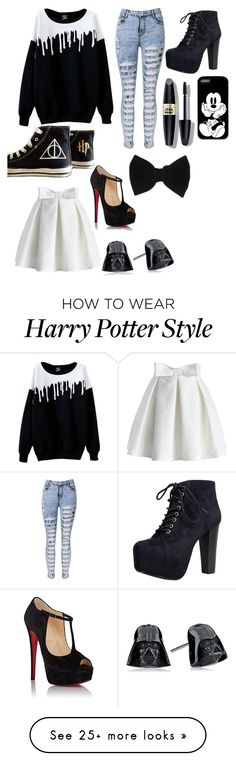 """""""Untitled #13"""" by ofek-herlinger on Polyvore featuring Chicwish, Christian Louboutin, Converse, Speed Limit 98, claire's and Max Factor"""