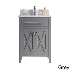 wimbledon collection 24 inch single vanity with marble countertop grey size single vanities