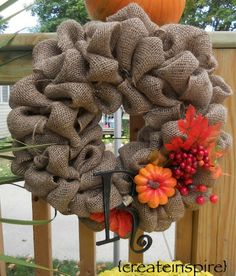 Burlap Fall Wreath...making this for sure. Will also embellish for winter/Christmas wreath
