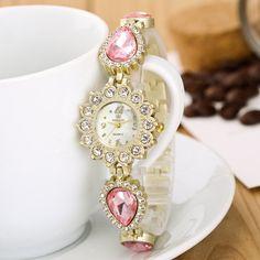 Elegant Retro Gold Sunflower Crystal Water Drop Shape Charm Chain Bracelet Watch Gift for Girl Women online - NewChic Pendant Jewelry, Jewelry Sets, Jewelry Watches, Women Jewelry, Crystal Bracelets, Gifts For Girls, Jewelry Supplies, Watches For Men, Bracelet Watch