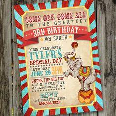Vintage Circus Birthday Invitation PRINTABLE Circus by partymonkey