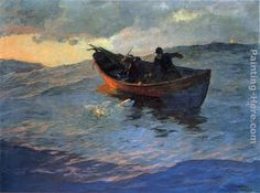 fishing from a dory.... (Edward Henry Potthast (1857–1927) Struggle for the Catch)