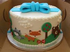woodland creatures baby shower cake - Google Search