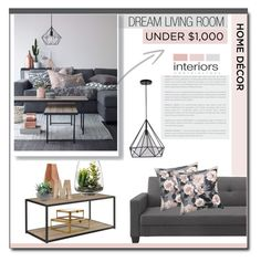 """""""Living Room Under $1000"""" by carlavogel ❤ liked on Polyvore featuring interior, interiors, interior design, home, home decor, interior decorating, Altra, Simplydesignz, Threshold and Dot & Bo"""