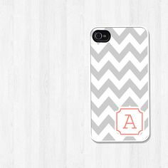 Personalized iPhone Case, iPhone 4, iPhone 5, Samsung Galaxy S3, Gray Chevron Coral Corner Initial, iPhone Cover, Wedding Gift (329)