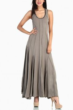 Open Wide Maxi Dress - Olive