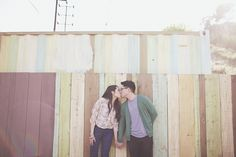 Fall engagement session ideas // colorful fence