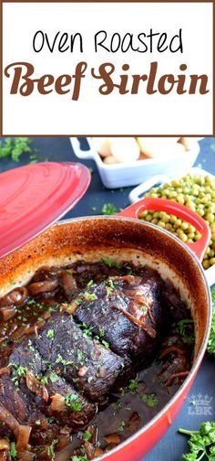 Succulent and moist and slowly braised with onions and a delicious home-made broth. Oven Roasted Beef Sirloin is tender and super flavourful; a perfect Sunday dinner main! Beef Steak Recipes, Healthy Beef Recipes, Beef Casserole Recipes, Beef Recipes For Dinner, Roast Recipes, Ground Beef Recipes, Cooking Recipes, Oven Recipes, Delicious Recipes