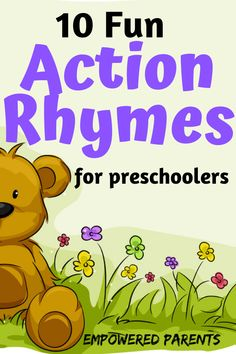 Teach your preschoolers these fun action rhymes. They are easy to learn and will build your child's gross motor skills and vocabulary. Teach your preschoolers these fun action rhymes. They are easy to learn and will build your child's gross motor skills. Preschool Action Songs, Rhyming Preschool, Nursery Rhymes Preschool, Rhyming Activities, Preschool Music, Gross Motor Activities, Toddler Learning Activities, Preschool Lessons, Therapy Activities
