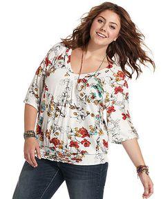 American Rag Plus Size Top, Short-Sleeve Floral-Print - Junior Plus Size - Plus Sizes - Macy's