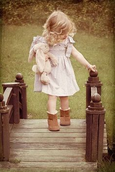 little girl and her bunny