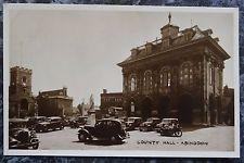 Vintage Postcard: County Hall, Abingdon c1950 RP vintage cars, motorbike, statue